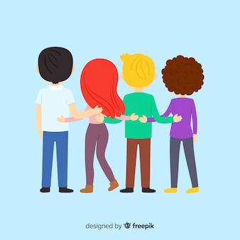 Giovani che abbracciano insieme sfondo