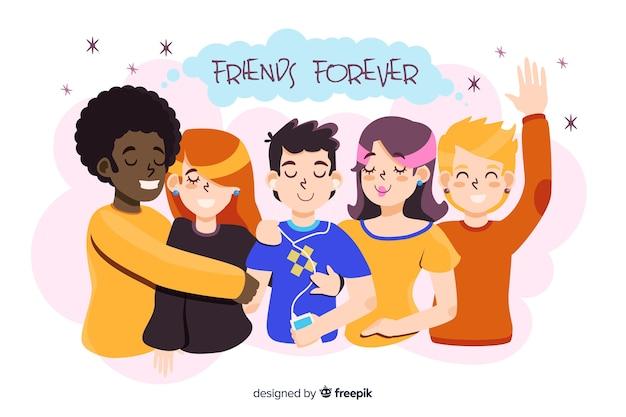 Giovani che abbracciano insieme