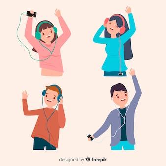 Giovani che ascoltano il set di musica