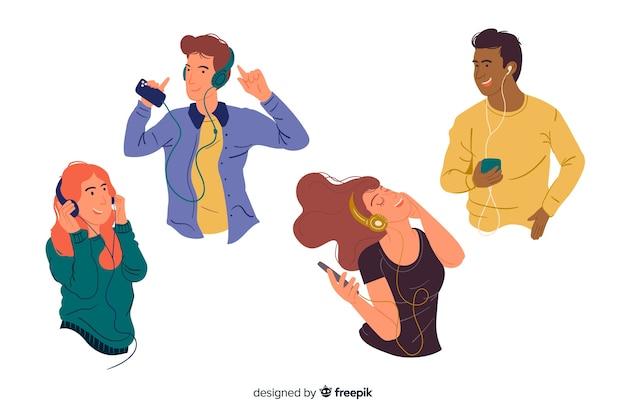 Giovani che ascoltano la musica