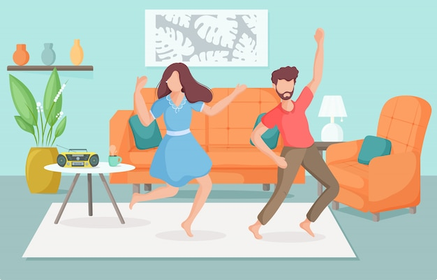 Giovani che ballano a casa. famiglia di trascorrere del tempo insieme in una casa accogliente. concetto di stare a casa. illustrazione.