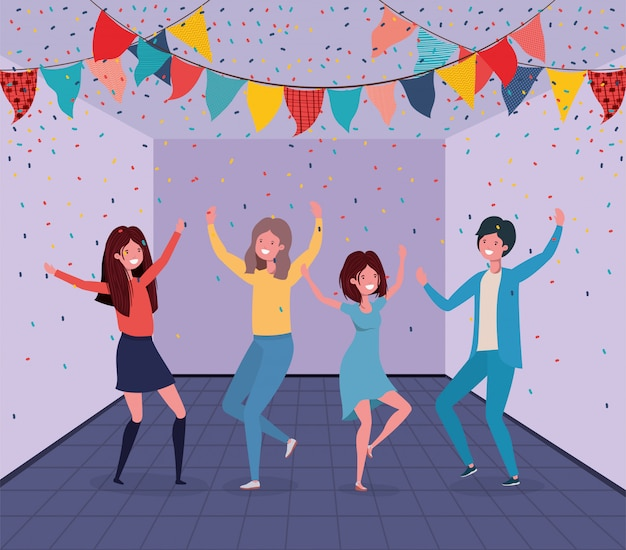 Giovani che ballano nella stanza