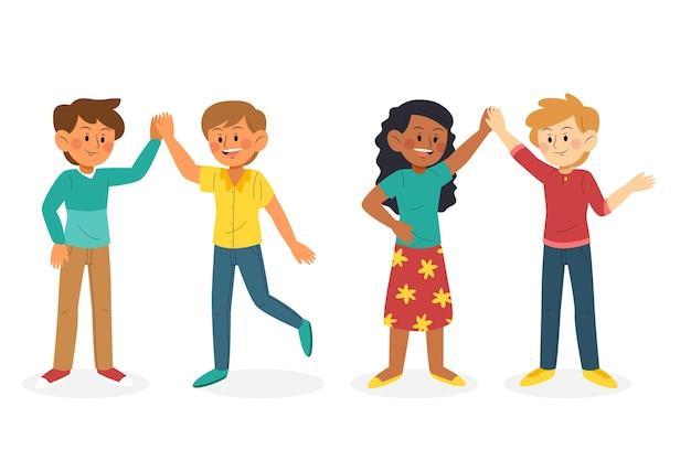 Giovani che danno un alto gruppo di cinque illustrazioni