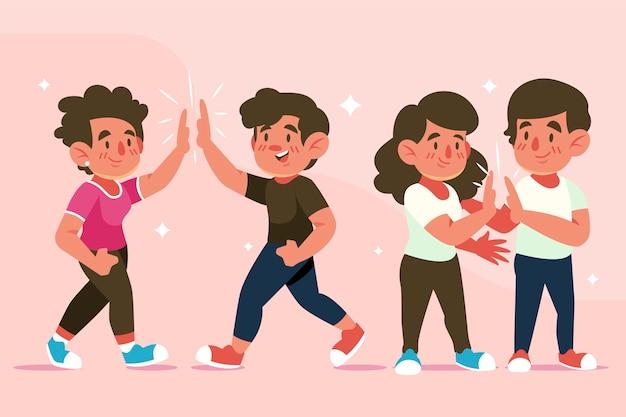 Giovani che danno una raccolta delle cinque illustrazioni