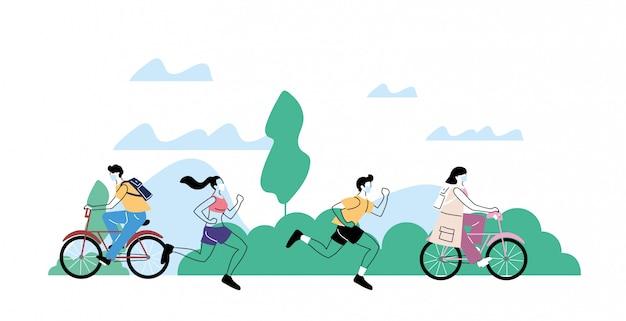 Giovani che fanno attività fisica all'aperto al parco, stile di vita sano e fitness