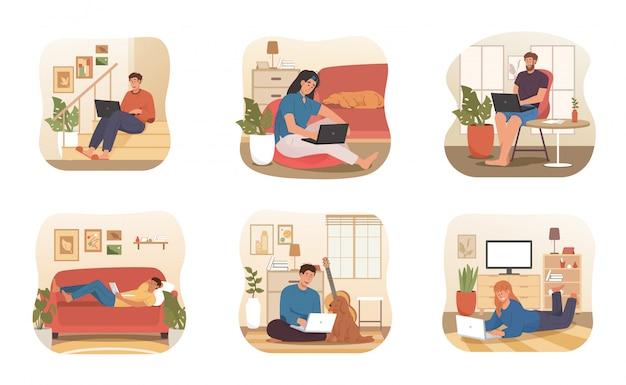 Giovani che lavorano a distanza da casa con animali domestici e un ambiente di lavoro confortevole. lavora da casa concetto