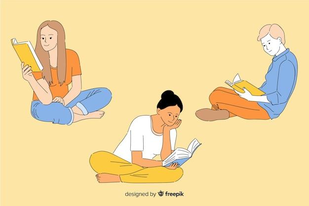 Giovani che leggono nello stile coreano del disegno