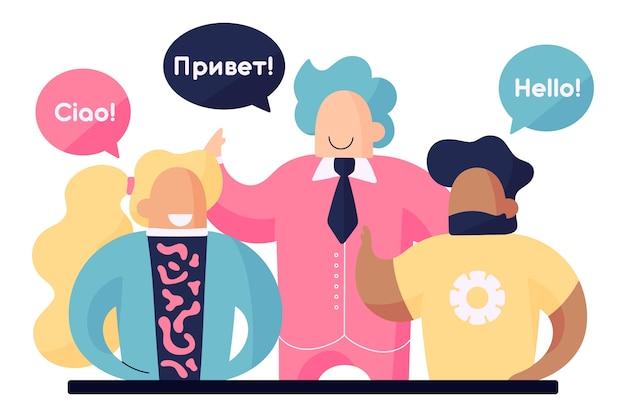 Giovani che parlano in diverse lingue