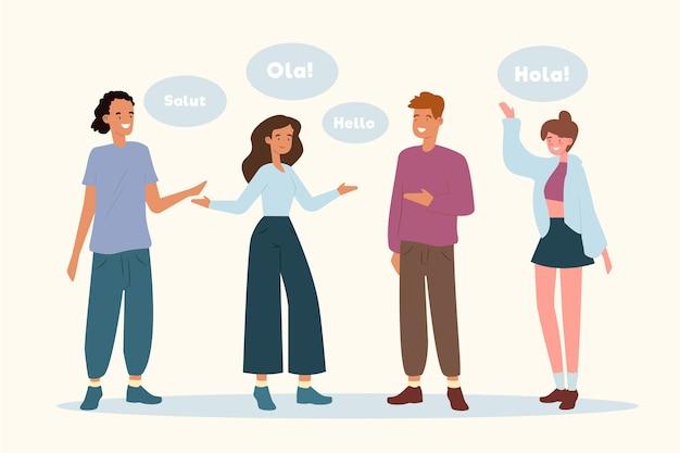 Giovani che parlano lingue diverse
