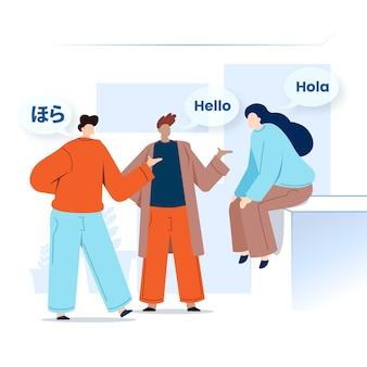Giovani che parlano lingue straniere con i fumetti