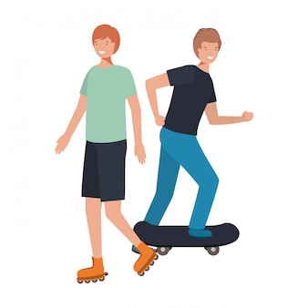 Giovani che praticano sport avatar carattere