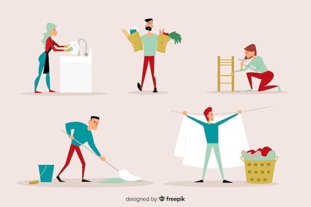 Giovani che puliscono insieme la casa illustrata