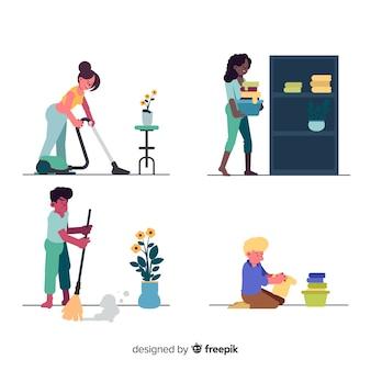Giovani che puliscono la casa