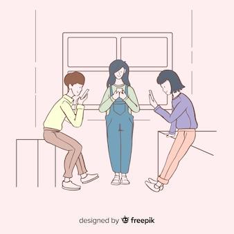 Giovani che tengono gli smartphone nello stile coreano del disegno