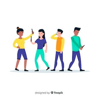 Giovani che usando concetto dell'illustrazione dei telefoni
