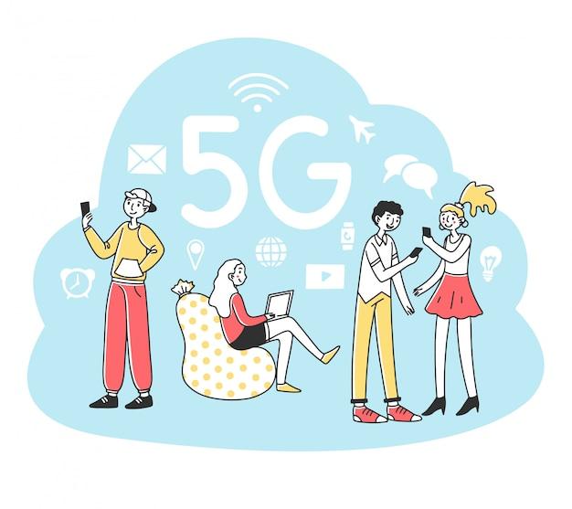 Giovani che utilizzano dispositivi digitali