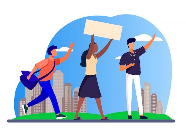 Giovani con banner alla riunione sociale