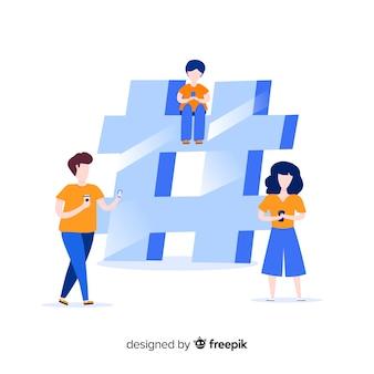Giovani con il simbolo dell'hashtag
