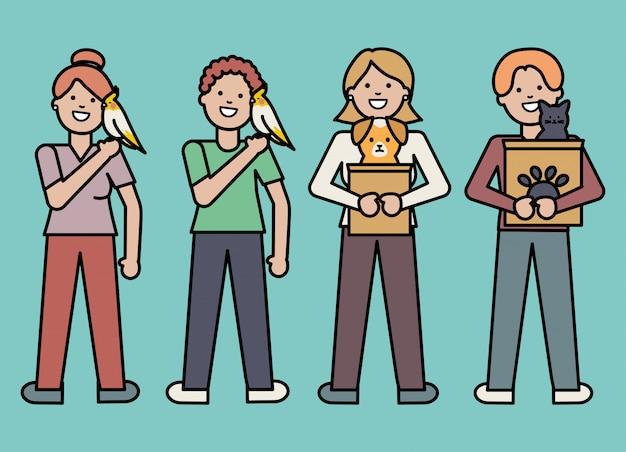 Giovani con mascotte adorabili