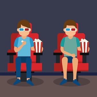 Giovani con occhiali icone 3d e cinema