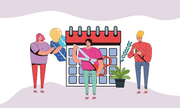 Giovani con progettazione dell'illustrazione delle icone di affari finanziari