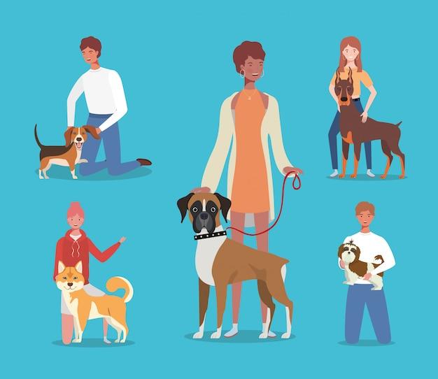 Giovani con simpatici personaggi mascotte di cani