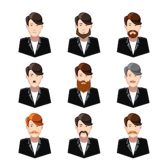 Giovani con tipo differente di baffi e barbe su bianco