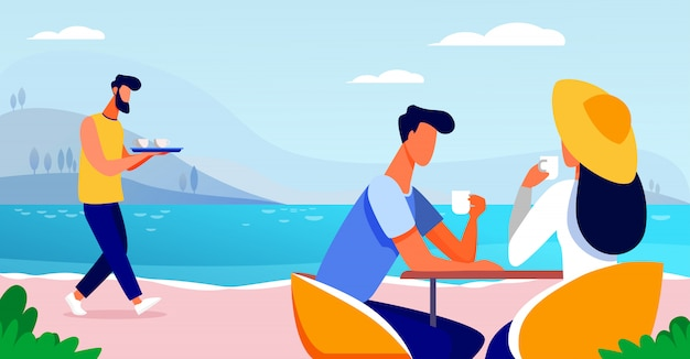 Giovani coppie che bevono caffè vicino al lago