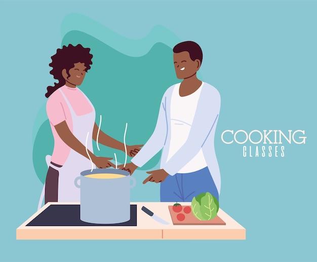 Giovani coppie che cucinano con il grembiule, una pentola e l'illustrazione degli utensili da cucina