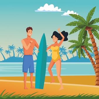 Giovani coppie che godono di cartoni animati estivi