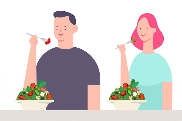 Giovani coppie che mangiano insalata. personaggio dei cartoni animati di vettore di uomo e donna. illustrazione di cibo sano isolato
