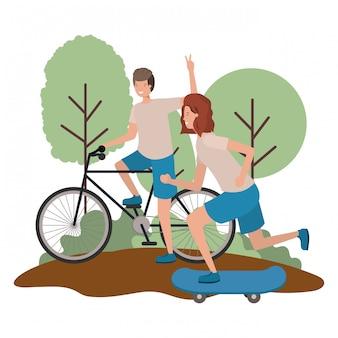 Giovani coppie che praticano personaggi sportivi