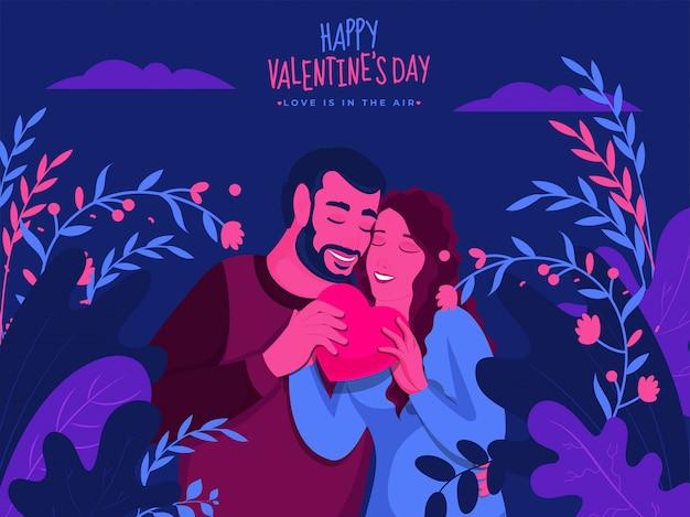 Giovani coppie che tengono cuore rosa