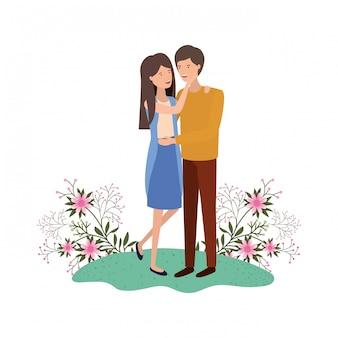 Giovani coppie con carattere avatar paesaggio