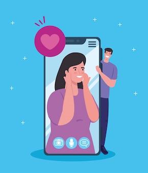 Giovani coppie con lo smartphone in videochiamata, concetto di social media