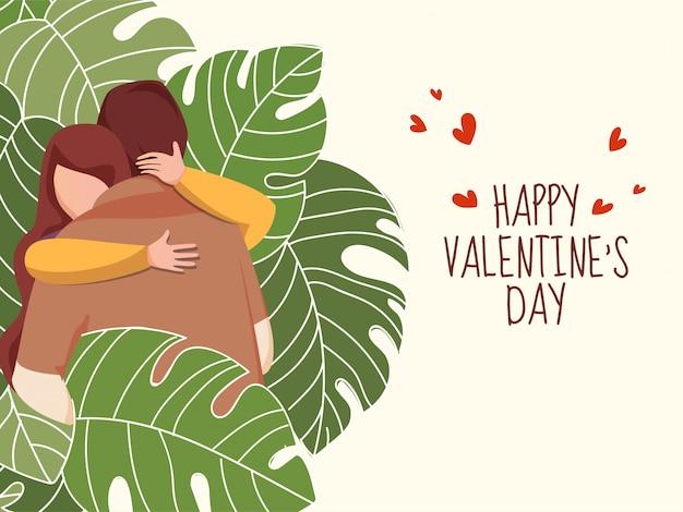 Giovani coppie del fumetto che abbracciano con le foglie tropicali verdi su fondo giallo pastello per il concetto felice di celebrazione di san valentino.