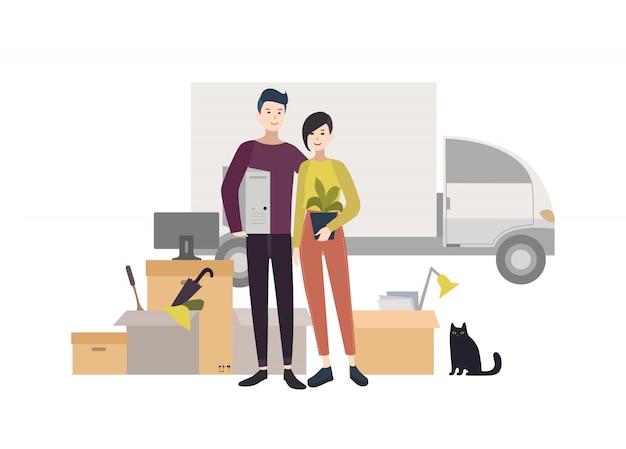 Giovani coppie felici che entrano in una nuova casa con le cose. illustrazione del fumetto in stile.