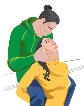 Giovani coppie felici con i vestiti verdi e gialli variopinti che preparano baciare