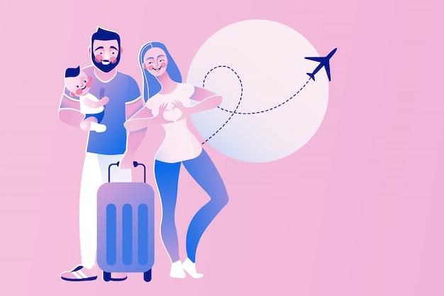 Giovani coppie felici con il viaggio del bambino. turismo con bambino, assicurazione familiare, concetto di aeroporto