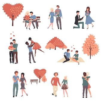 Giovani coppie nell'amore set di personaggi dei cartoni animati.