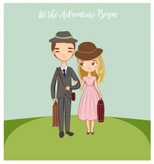 Giovani coppie romantiche felici di viaggiare