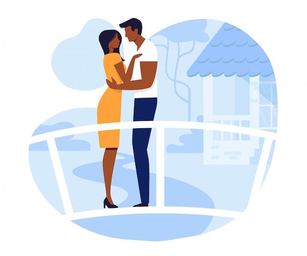 Giovani coppie sull'illustrazione romantica di vettore della data