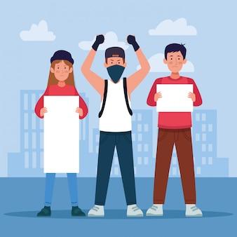 Giovani del fumetto che protestano tenendo i segni in bianco