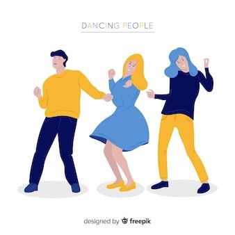 Giovani disegnati a mano che ballano insieme