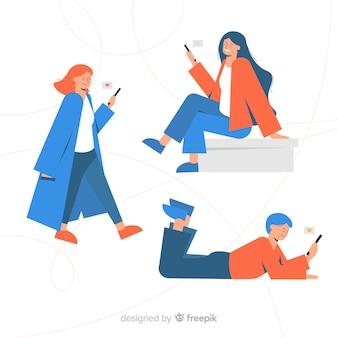 Giovani disegnati a mano che tengono gli smartphone