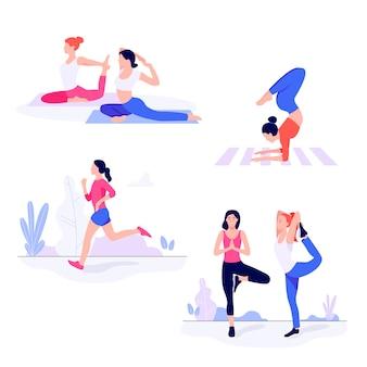 Giovani donne atletiche che risolvono, facendo esercizio di forma fisica