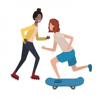 Giovani donne che praticano sport avatar carattere