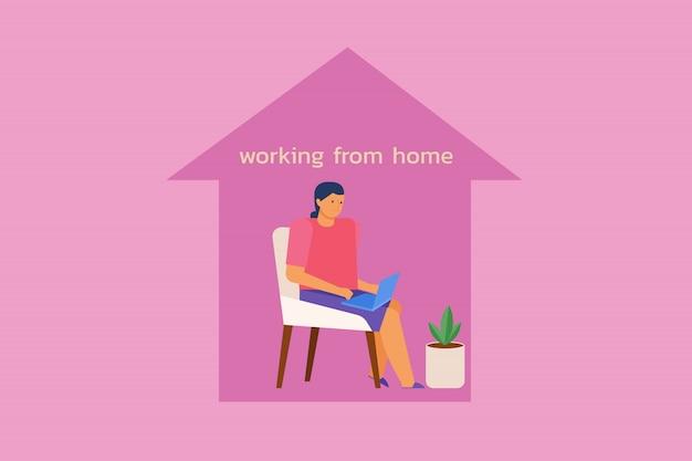 Giovani donne che si siedono sulla sedia facendo uso del computer portatile dentro la forma della casa. lavora da casa concetto. illustrazione in stile piatto.