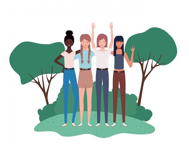 Giovani donne che stanno con l'illustrazione del paesaggio