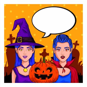 Giovani donne con costume di halloween e nuvoletta vuota in stile pop art
